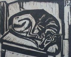 Slapende hond - houtsnede - Pieter Cornelis Constant (Piet) Wiegman, 1885-1963 Nederland