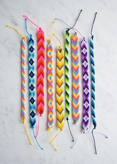 Classic friendship bracelet kit (purl soho) - $12-27.50 USD. Description: It contains everything you need to make around a dozen bracelets, all packaged in a very nice tin. Inside you'll find step-by-step instructions for three basic designs: stripes, chevrons and diamonds; plus a safety pin and five 10-yard spools of nylon knotting cord, which makes the brightest, sturdiest and cutest bracelets around!