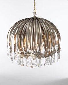 """""""Valencia"""" Chandelier. has crystal flowers hanging from black silver-finished iron """"leaves."""" $1495"""