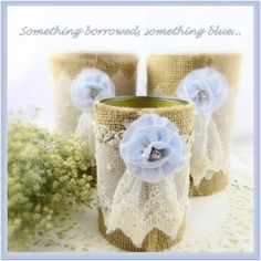 Set of 8 Just add flowers Wedding Decor rusty shabby chic cottage burlap recycled can centerpiece decorations blue cream lace tagtteam