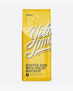 Glossy Coffee Bag With Valve Mockup - Front View. Preview