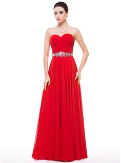 A-Line/Princess Sweetheart Floor-Length Chiffon Prom Dress With Ruffle Beading Sequins (018056799) - JJsHouse