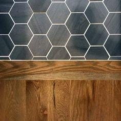 Entryway flooring Ideas For Home Black Hexagon Tile To Oak Hardwood Floor Transition sure that you f Tile To Wood Transition, Transition Flooring, Black Hexagon Tile, Hexagon Tiles, Hex Tile, Tiling, Honeycomb Tile, Tile Wood, Black Tiles