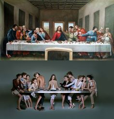one of the most studied, scrutinized, and satirized of the late mural painting by Leonardo da Vinci in the refectory of the Convent of Santa Maria delle Grazie, Milan Recreation Photographer Shelly Perkins Edouard Hopper, Last Supper Art, Famous Art Pieces, Lotus Flower Art, Appropriation Art, Tableaux Vivants, Political Books, Renaissance, Mural Painting