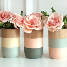 Painted wooden vases, set of 3   Spotted on Keep