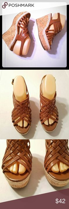 "8M Franco Sarto Tammie Cork Wedge Platforms Franco Sarto Women's Wedges Platforms Heels Leather Cork Rope Tan Brown SIze 8M Style Tammie Gently worn   Size 8M  Heel height 4""  See pictures for more detail Franco Sarto Shoes Platforms"