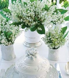 Floral Arrangement - Vignette of lily of the valley in assorted white containers. Spring Flowers, White Flowers, Beautiful Flowers, Lily Of The Valley Flowers, Language Of Flowers, Arte Floral, Shades Of White, Floral Arrangements, Wedding Flowers