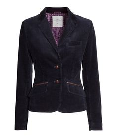 Dark blue, fitted corduroy blazer with imitation leather details | HM