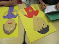 Self portraits from cutting paper. Includes journaling.