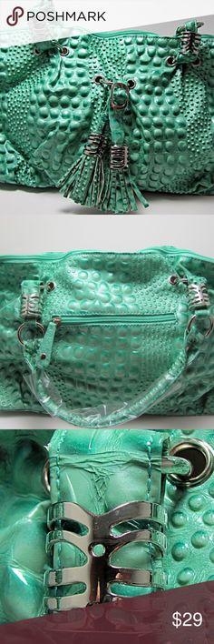"Turquoise Alligator Large Satchel Handbag Catch the summer vibes with this turquoise Alligator bag! •100% Polyurethane •Silver decorative hardware •5"" Drop Handles and Shoulder Strap •Zipper Closure •15""L x 10""H x 6""W •Turquoise Bags Satchels"