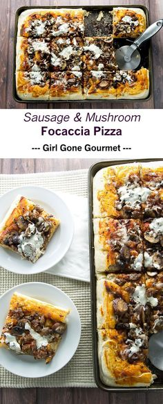 Pillow-y soft focaccia topped with Italian sausage, mushrooms, and cheese | girlgonegourmet.com