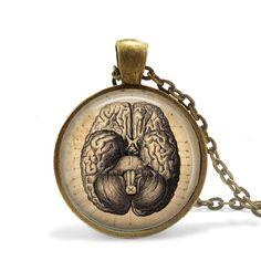 """Brain Necklace, Anatomy Jewelry, Anatomical Brain Jewelry, 24"""" chain."""