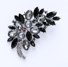 Black Bridal Brooch Large Black Brooch Crystal Black Brooch Rhinestone Back Brooches Black Dress Sash Broach
