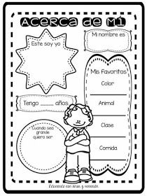 RECURSOS DE EDUCACIÓN INFANTIL: ¿ QUIÉN SOY? Spanish Classroom Activities, First Day Of School Activities, First Day Of Class, First Day School, Class Activities, Spanish Words, Spanish Lessons, Learning Spanish, Spanish Worksheets