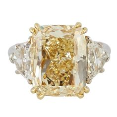 Rosamaria G Frangini | High Yellow Jewellery | Rosamaria G Frangini | High Yellow Jewellery | 10 Carat GIA Fancy Yellow Cushion Cut Diamond Gold Platinum Engagement Ring
