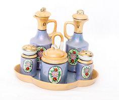 Items similar to Condiment Set Lustreware - Blue Peach- Hand Painted Flowers - Oil Vinegar - Salt Pepper - Made in Japan on Etsy Vinegar Salt, Condiment Sets, Olie, Blue Peach, Stuffed Peppers, Hand Painted, Unique Jewelry, Handmade Gifts, Vintage