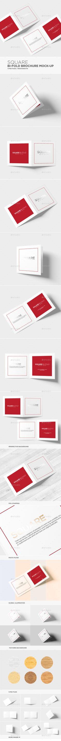Square Bi-fold Brochure Mock-Up Design Template PSD. Download here: https://graphicriver.net/item/square-bifold-brochure-mockup/16936772?s_rank=27&ref=yinkira