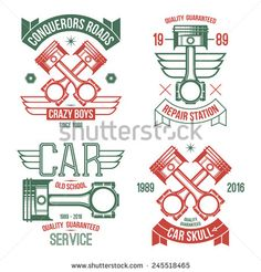 Car engine piston emblems. Color print on a white background - stock vector