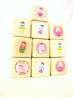 Matryoshka Doll Wood blocks. Baby/Children. Building blocks. Pink. Girl. Russian.. $30.00, via Etsy.