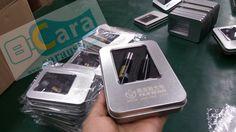 promotional USB Pen Flash Drive gift set, including metal box package, www.carausb.com  custom pen shaped usb disk.