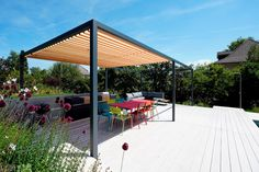 Modern Steel and Wood Pergola from Luginbuehl Company Wood Pergola, Outdoor Structures, Patio, Steel, Outdoor Decor, Modern, Home Decor, Glass Building, Formal Gardens