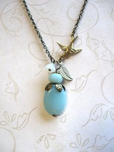 Robins egg blue necklace - amazonite stone with brass bird charm, spring time necklace