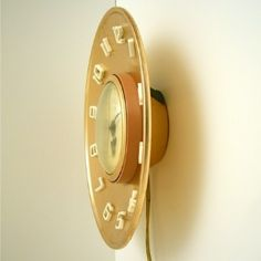 """Copper MCM clock Telechron made by GE """"The Diameter"""""""