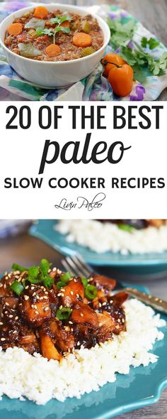 I love my slow cooker. I love coming home to a meal that's ready to eat,  especially when I've had a long day and I really don't feel like cooking. I  typically prep a few meals on Sunday afternoon, but my slow cooker saves me  the rest of the week. Here are 20 awesome paleo slow cooker recipes. Spend  a few minutes planning out your slow cooker meals and throw them in a crock  pot before you leave for work. Your taste buds will thank you when you get  home!