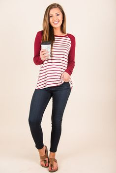 """""""Cute, Striped Baseball Tee, Burgundy""""How cute is this striped baseball tee! It's fabulously classic and wonderfully comfy!"""