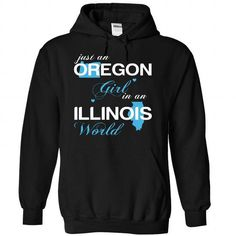I Love (ORJustXanh001) Just An Oregon Girl In A Illinois World T-Shirts