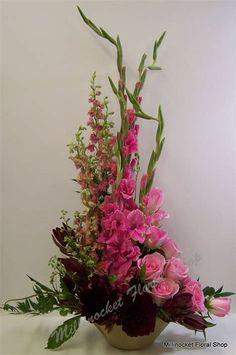 Gladiolus Arrangements, Funeral Floral Arrangements, Church Flower Arrangements, Beautiful Flower Arrangements, Elegant Flowers, Beautiful Flowers, Casket Flowers, Altar Flowers, Church Flowers
