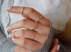 Set Of 3 Hammered Rings Rose Gold Yellow Gold Sterling Silver 3 Skinny Hammered Ring Set Stacking Ring Gold Filled Hammered Ring Engagement Ring Rose Gold, Gold Wedding Rings, Vintage Engagement Rings, Diamond Wedding Bands, Vintage Rings, Wedding White, Moon Wedding, Oval Engagement, Crystal Wedding