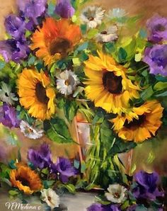 Artists Of Texas Contemporary Paintings and Art - Moonglow Sunflowers by Floral Artist Nancy Medina