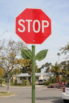 Stop Sign Flowers STRAIGHT FORWARD TYPOGRAPHY - clean and clear. so everybody understand. its red so people notice.