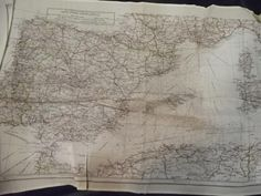 Map of France printed on silk handkerchief issued by the War Office to the RAF 1940  - Thierry de Maigret