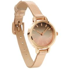 Rose Gold Distressed Skinny Strap Watch ($15) ❤ liked on Polyvore featuring jewelry, watches, candy pink, red gold jewelry, rose gold jewellery, pink watches, pink gold watches and polish jewelry