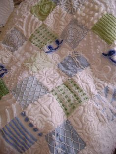 """SUMMER BREEZE - Vintage Chenille Quilt - Baby, Crib or Throw - Plush Whites, Light Blues and Soft Green - 42"""" x 42"""". $150.00, via Etsy."""