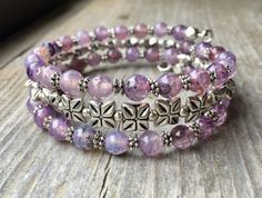 Pale Purple Multi Strand Gemstone Memory Wire Wrap Bracelet