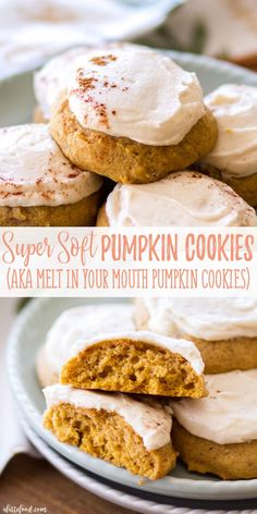 These super Soft Pumpkin Cookies with a maple frosting are one of my favorite fall desserts! These homemade pumpkin cookies are full of sweet pumpkin pie spices and topped with an easy maple frosting that complements these soft-baked pumpkin cookies perfectly! A step-by-step video too! #pumpkin #cookies #fall #desserts #recipe #maple