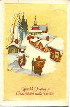 Vintage Christmas, Christmas Cards, Winter Holidays, Martini, Finland, Norway, Scandinavian, Rooster, Postcards