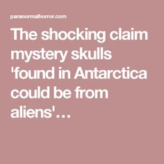 The shocking claim mystery skulls 'found in Antarctica could be from aliens'…