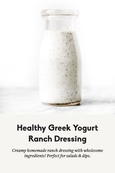 Creamy healthy greek yogurt ranch dressing with ingredients that you can feel good about! This easy dressing will be your new go-to for salads, dips, and more. Skip the bottled stuff for good! Yogurt Ranch Dressing, Healthy Ranch Dressing, Greek Yogurt Ranch, Greek Yoghurt, Homemade Dressing Recipe, Homemade Ranch Dressing, Homemade Sauce, Yogurt Salad Dressings, Healthy Yogurt
