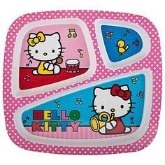 The Hello Kitty Dinner Plate by Zak! Designs makes serving a meal fun for your little Hello Kitty fan. The plate is divided to keep food separate and has raised edges to help food stay inside the tray. It is a great addition to any snack time or mealtime.