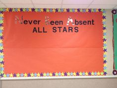 Board for Perfect attendance. Made by Staff at Miami Elementary School. Attendance Display, Attendance Incentives, Attendance Board, School Attendance, Attendance Ideas, Counseling Bulletin Boards, Elementary Bulletin Boards, Classroom Bulletin Boards, Elementary Schools