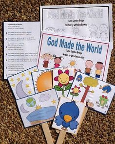 God made the world song with printable puppets
