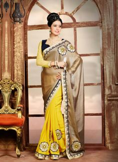 http://www.sareesaga.in/index.php?route=product/product&product_id=19897 Style:Designer Saree Shipping Time:10 to 12 Days Occasion:Festival Reception Ceremonial Fabric:Faux Chiffon Georgette Colour:Yellow Brown Work:Embroidered Resham Work Lace For Inquiry Or Any Query Related To Product,  Contact :- +91 9825192886