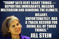 """""""What We Fear from Donald Trump, We Have Already Seen from Hillary Clinton"""" As  appreciatively articulated, plus video & text recorded, via a June 9, 2016 interview  with Democracy Now!, here: http://www.democracynow.org/2016/6/9/green_partys_jill_stein_what_we"""