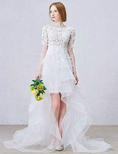 Vestido de Noiva - Branco Trapézio Transparente Assimétrico/Mullet Renda de 2015 por R$571,46