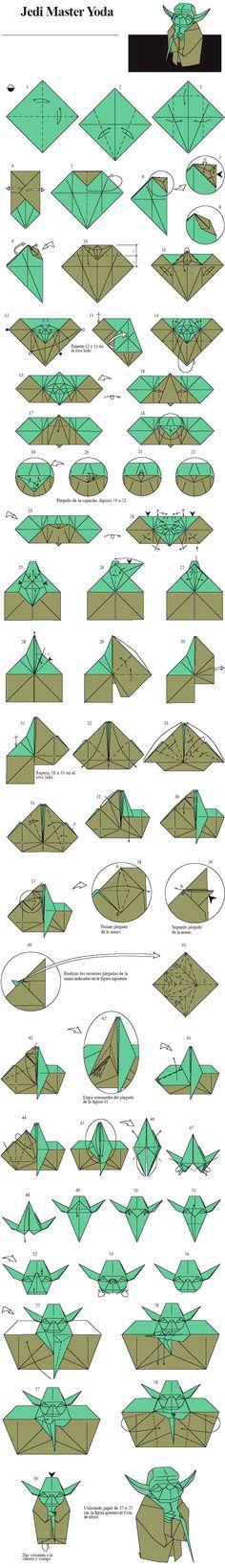 Origami Jedi Master Yoda // Designed by Fumiaki Kawahata // Star Wars Star Wars Origami, Origami Yoda, Money Origami, Origami Paper Folding, Origami And Kirigami, Oragami, Origami Instructions, Origami Tutorial, Paper Models