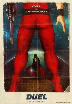 Duel : Space Pirates http://richard-tran.fr/ #Cobra #Albator #Harlock #Duel #Poster